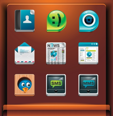 Communication and social networking. Mobile devices appsservices icons. Part 2 of 12 Vector