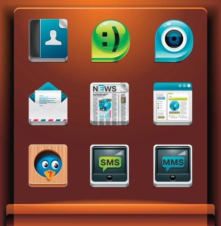 social networking: Comunicazione e social networking. Icone di applicazioniservizi di dispositivi mobili. Parte 2 di 12