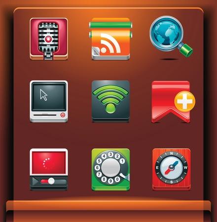 agenda electr�nica: Comunicaci�n. Iconos de aplicacionesservicios de dispositivos m�viles. Parte 3 de 12 Vectores