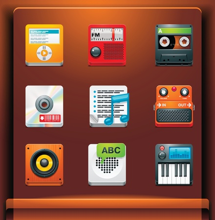 Multimedia. Mobile devices apps/services icons. Part 5 of 12 Stock Vector - 8413143