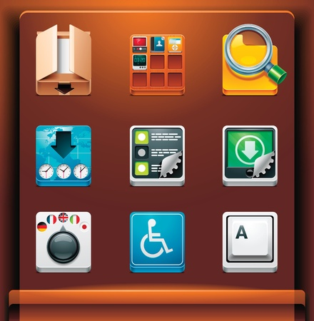 System tools. Mobile devices appsservices icons. Part 10 of 12 Vector