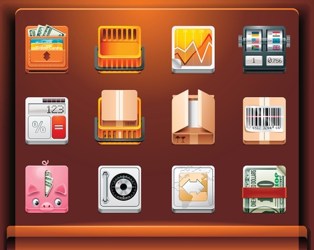 coin box: Shopping and money. Mobile devices appsservices icons. Part 11 of 12 Illustration