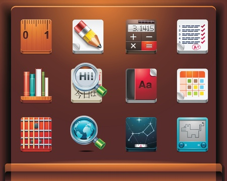 translation: School and educational apps. Mobile devices appsservices icons. Part 12 of 12 Illustration