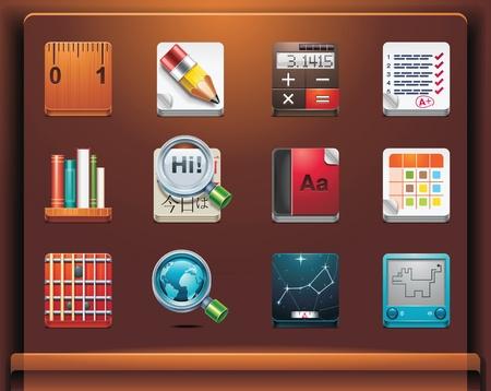 vzdělávací: School and educational apps. Mobile devices appsservices icons. Part 12 of 12 Ilustrace