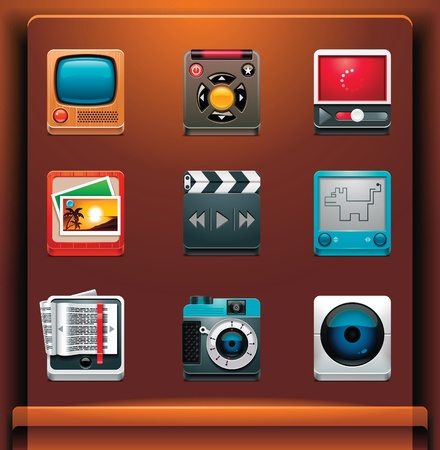 Multimedia. Mobile devices appsservices icons. Part 6 of 12 Vector