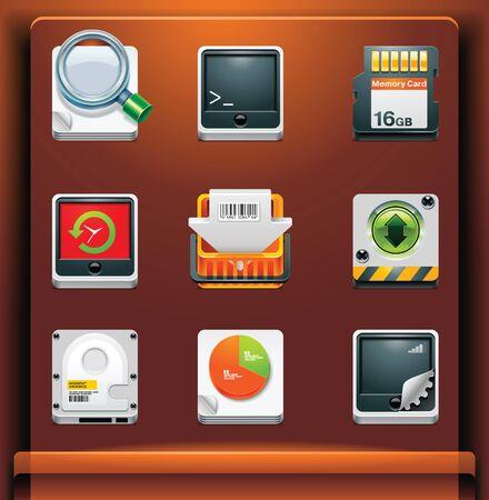 agenda electr�nica: Herramientas del sistema. Iconos de aplicacionesservicios de dispositivos m�viles. Parte 8 de 12 Vectores