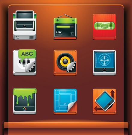 System tools. Mobile devices appsservices icons. Part 9 of 12 Vector