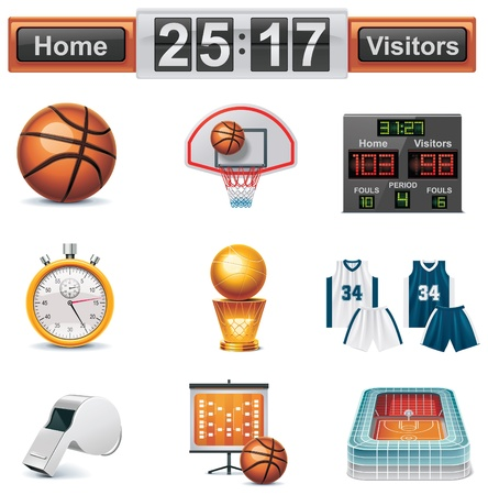 scoreboard: Vector basketball icon set Illustration