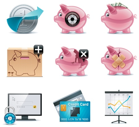 bank overschrijving: Vector banking pictogrammen. Deel 1 Stock Illustratie