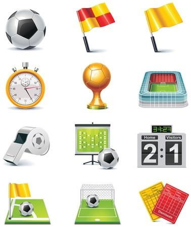 cronometro: Vector de conjunto de iconos de f�tbol