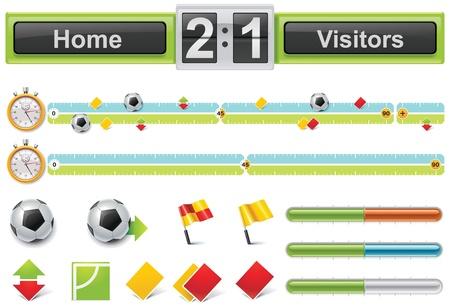 sideline: L�nea de tiempo al partido de f�tbol de vector con marcador Vectores
