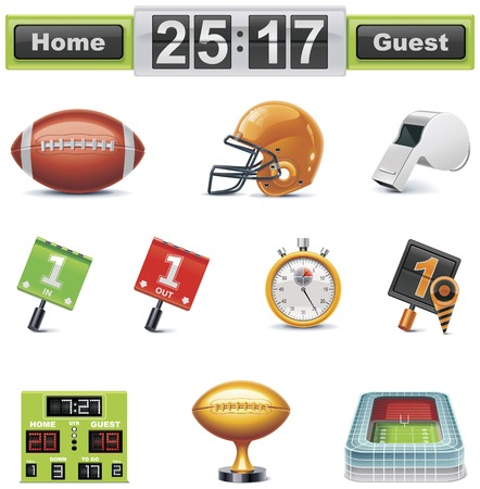 scorebord: Vector American football  gridiron pictogram set. Deel 1