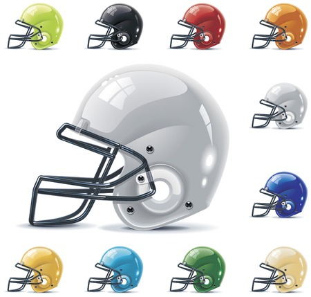sports helmet: Vector American football  gridiron icon set