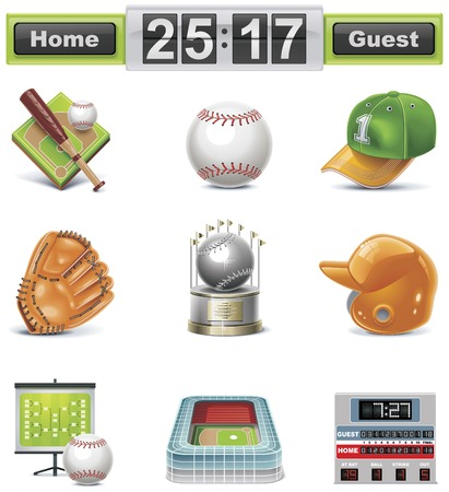 leather gloves: Vector baseball  softball icon set