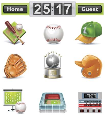 scorebord: Vector honkbal  softbal icon set Stock Illustratie