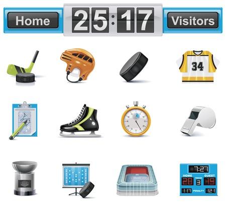 hockey sobre cesped: Conjunto de iconos de hockey sobre hielo de vector
