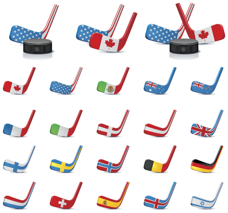 Vector ice hockey sticks country flags icons, Part 1 Vector