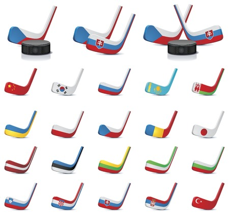kingdom of spain: Vector ice hockey sticks country flags icons, Part 2 Illustration