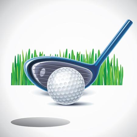 golf stick: club de golf con bola
