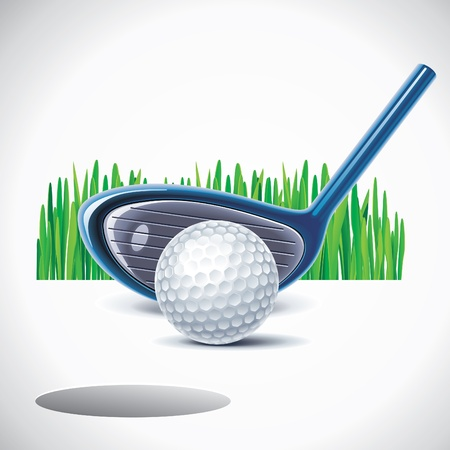 golf equipment: golf club with ball Illustration