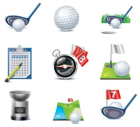 golf stick: conjunto de iconos de golf
