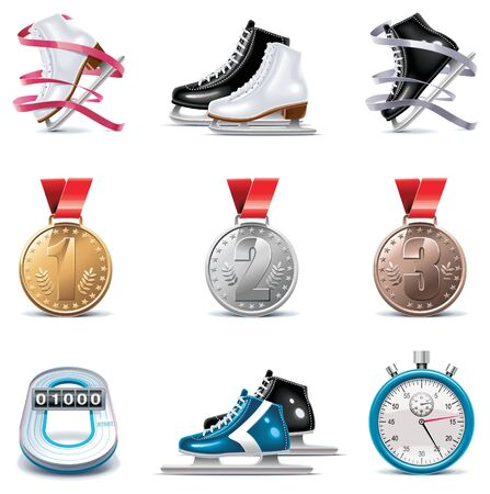patinando: conjunto de iconos de patinaje sobre hielo Vectores