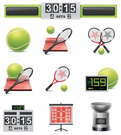 raqueta de tenis: conjunto de iconos de tenis
