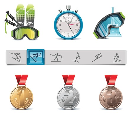 competitions: skiing icon set Illustration