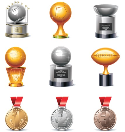 champions league: sport trophies and medals icon set