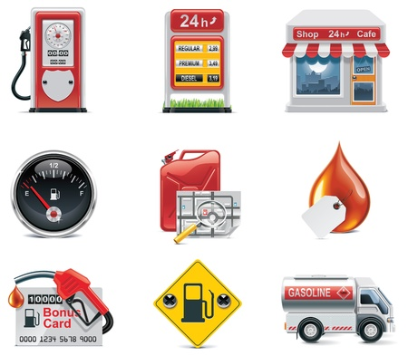 gas icon: set di icone di benzina