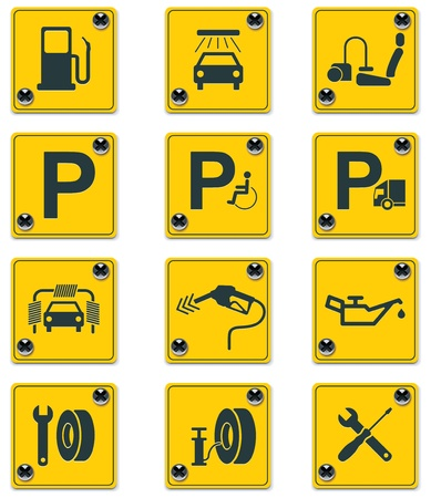 roadside services signs icon set. Part 1 Stock Vector - 8887636