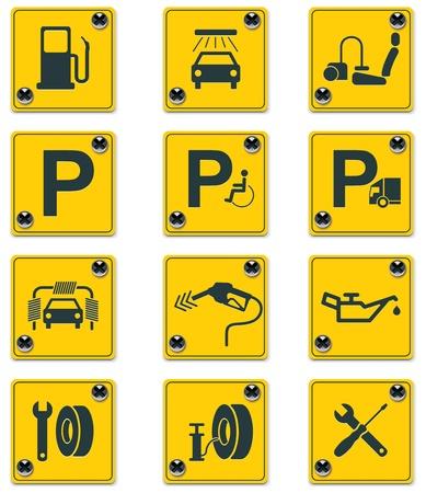 autolavaggio: set di icone di segni di servizi sul ciglio della strada. Parte 1 Vettoriali