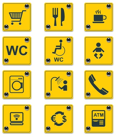the roadside: roadside services signs icon set. Part 2