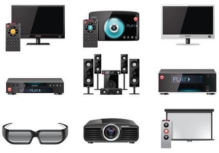 Vecteur équipement vidéo, icône, ensemble