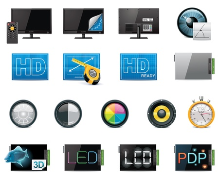 display type: Vector TV features and specifications icon set. Part 1 (color, detailed) Illustration