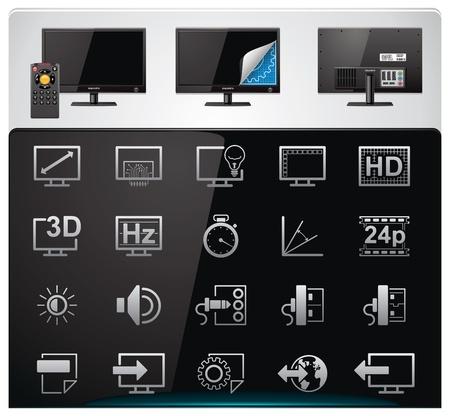 display type: Vector de conjunto de iconos de las caracter�sticas y especificaciones de TV. Parte 2 (bw, minimalista)