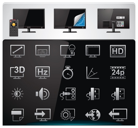 lcd: Vector TV features and specifications icon set. Part 2 (bw, minimalistic) Illustration