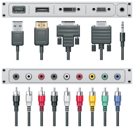 enchufe: Conectores de audio y vídeo de vectores
