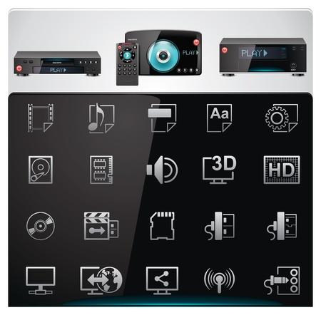 specifiche: Vector lettori video caratteristiche e specifiche icon set