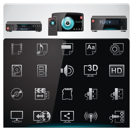 Vector video players features and specifications icon set Vector