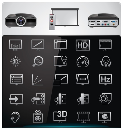 contrast resolution: Vector video projector features and specifications icon set