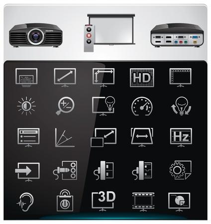 settings: Vector video projector wezenstrek en Specificatiebrief icon set Stock Illustratie