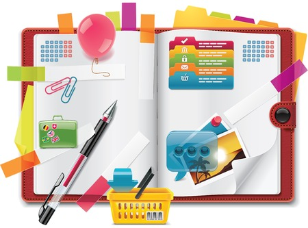 notebook page: Vector personal organizer features XXL detailed icon