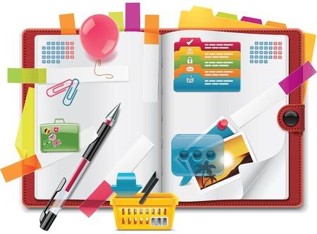 sticky notes: Vector persoonlijke organizer functies XXL gedetailleerde pictogram
