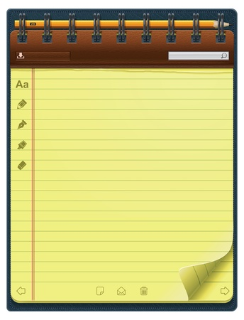 yellow note: notepad template (vertical)