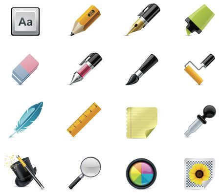 ballpoint pen: Drawing and Writing tools icon set Illustration