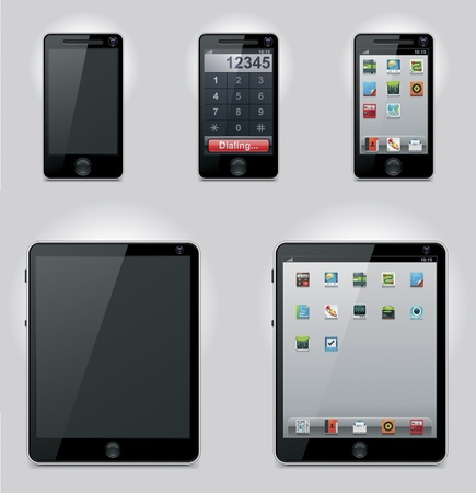 mobile phone screen: Vector tablet computer and mobile phone icons Illustration