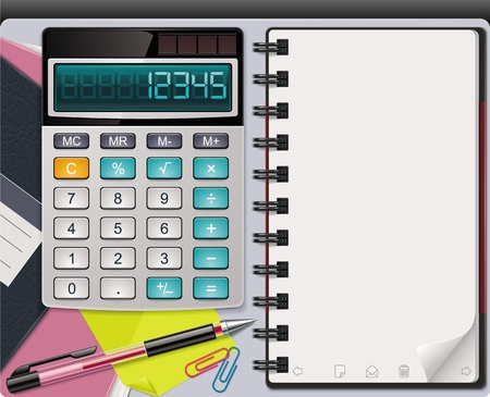 Vector calculator with notepad template Vector
