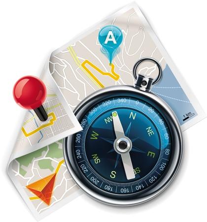 Vector navigatie / Kaartpictogram XXL gedetailleerde routebeschrijving