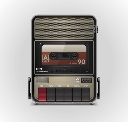 grabadora: Icono de vector cassette grabador XXL Vectores